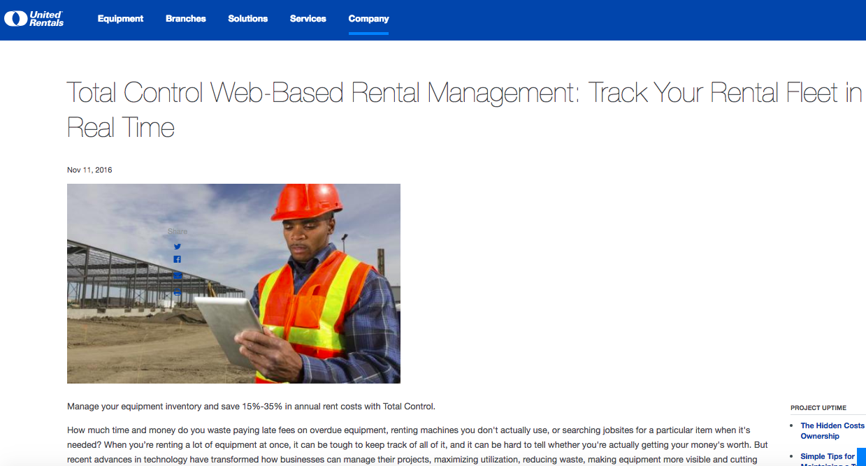 United Rentals Project Uptime Website Content by S.A. Rogers