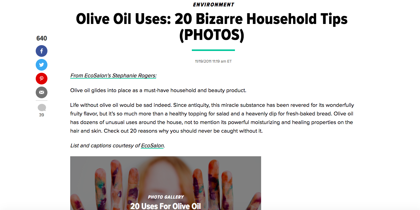 Article: Olive Oil Uses - 20 Bizarre Household Tips