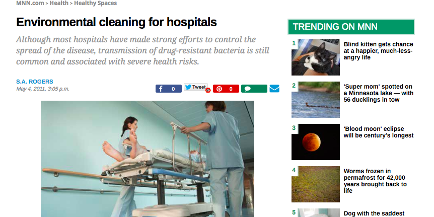 Article: Environmental cleaning for hospitals
